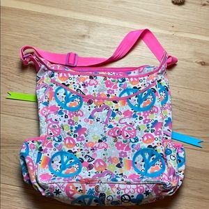 Justice Messenger Bag Peace Hearts Flowers Glitter